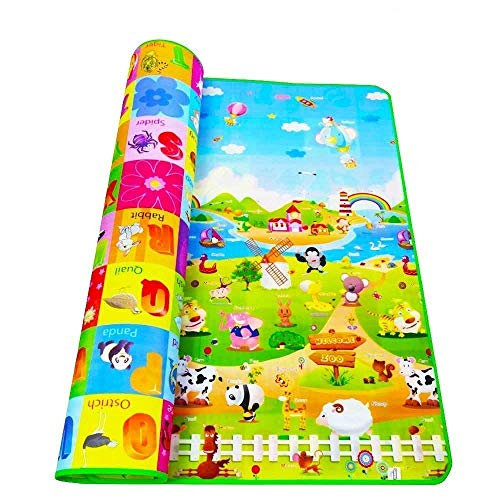 RYLAN Double Sided Water Proof Baby Mat Carpet Baby Crawl Play Mat Kids Infant Crawling Play Mat Carpet Baby Gym Water Resistant Baby Play & Crawl Mat(Large Size - 6 Feet X 4 Feet)