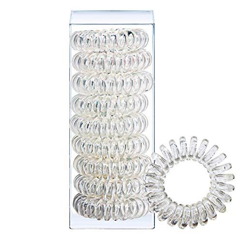 Huryfox Elastico Capelli Spirale, Accessori per capelli donna, Capelli gomma, plastica, cavo telefonico, elastica, ornamenti per i capelli set di 9 (Trasparente)