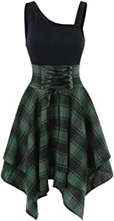 Qiujold Plaid Mini Dress For Women Tartan Irregular Retro Hem Skirt Dress
