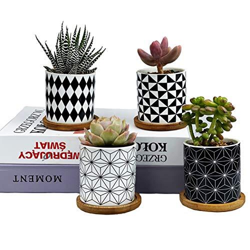 Sukkulenten-Blumentöpfe, Blumentöpfe, Geometrie-Töpfe für Pflanzen, Pflanzgefäße, innen und außen, Keramik-Pflanzen, Töpfe für Kakteen mit Abflussloch und Bambus-Tablett, perfekte Geschenkidee rot