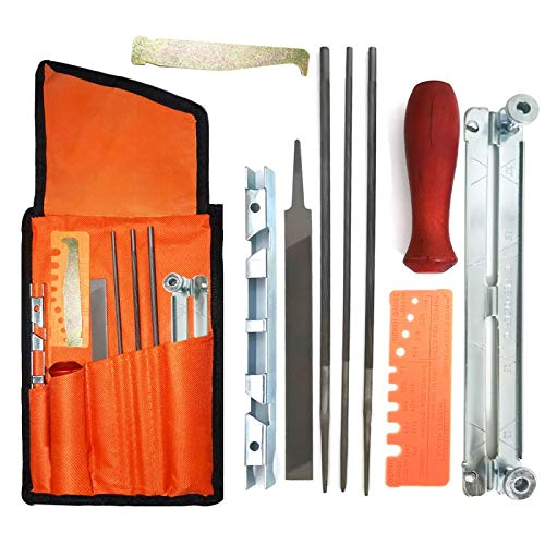 OSGP Chainsaw Sharpener File Kit, Chainsaw Chain Sharpener Chain Parts Set with 5/32, 3/16, 7/32 Inch Files, Wood Handle, Depth Gauge, Filing Guide, Tool Pouch