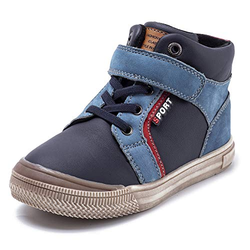 Ahannie Toddler Boys Leather Ankle Boots, Kids Adjustable Classic Side Zipper High-Top Sneakers (Size:11 M US Little Kid,Color:Navy)