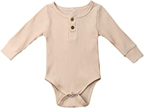 MA&BABY Baby Boys Girls Romper Long Sleeve Knit Bodysuit Newborn One-Piece Outfits Solid Color Jumpsuit