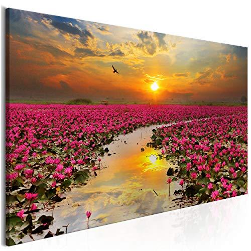 decomonkey Bilder Blumen Lilie 100x45 cm Leinwandbilder Bild auf Leinwand Vlies Wandbild Kunstdruck Wanddeko Wand Wohnzimmer Wanddekoration Sonnenuntergang Landschaft Wasser Himmel Rosa Orange