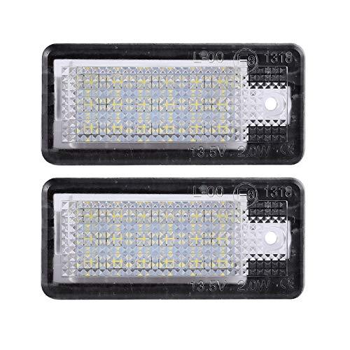 Justech 2pcs Eclairage de Plaque Immatriculation Feux de Plaque d'Immatriculation Lampe Ampoule LED de Plaque Étanche pour Audi A3 S3 A4 S4 B6 B7 A6 S6 A8 S8 Q7