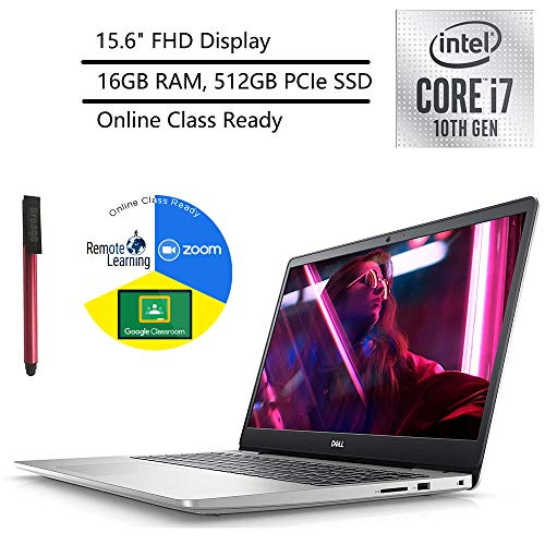 """2020 Dell Inspiron 15 5000 15.6"""" FHD Laptop Computer, 10th Gen Intel Core i7-1065G7 Up to 3.9GHz, 16GB DDR4, 512GB PCIe SSD, Online Class Ready, Bluetooth 4.2, Windows 10, BROAGE 64GB Flash Drive"""