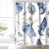 Ballerina Duschvorhang Premium Polyester wasserdicht Ballerina Duschvorhang für Badezimmer Dekor 72 x72