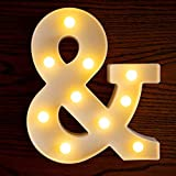 Yorulory LED Letter Lights Sign Letters Light Up Letters Sign for Night Light Wedding Birthday Party Battery Powered Christmas Lamp Home Bar (&)