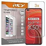 3X Protector de Pantalla para OPPO REALME X50 Pro 5G -, Cristal Vidrio Templado Premium