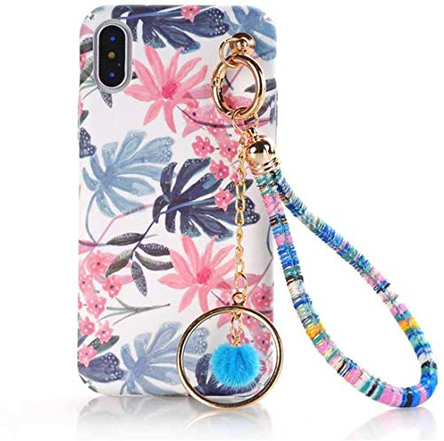 Who-Care Art Drawing Cartoon Floral Hard Pc Phone Case For iPhone X XS MAX XR 6S 7 8 6 Plus Ball Chain Tassels Pompom Coque,M04,For iPhone 8 Plus-M01-Forfor Iphone66S