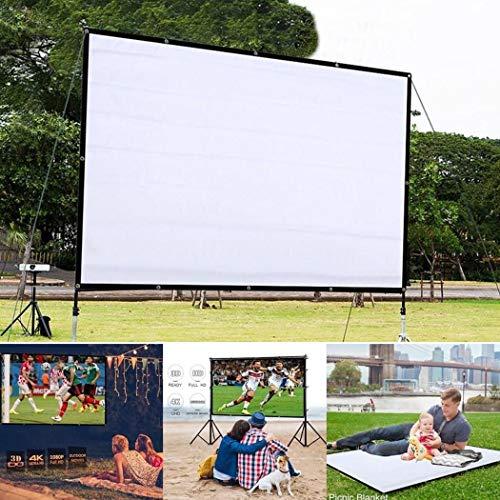 Kloius Pantalla de Cine Plegable portátil Pantalla de proyección Resistente a la luz del hogar Pantallas para proyectores