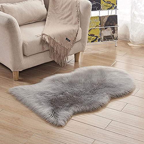 Vloerkleed rond pluizig vloerkleed,tapijt van imitatiewol voor thuis in de slaapkamer en woonkamer - lichtgrijs_60*180, Vloerkleden voor binnen of buiten