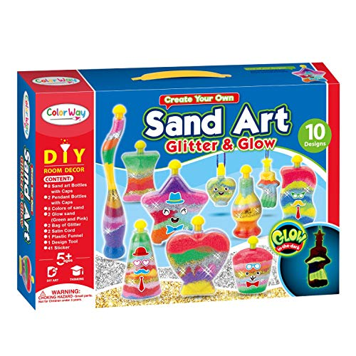 Zddaoole Kids Sand Kit Craft Sand Art Kit,Colored Sand for Children Crafts,with 20 Sheets Sand Art Painting Cards for Decorative Wedding and Crafty Collection Sand Bottles