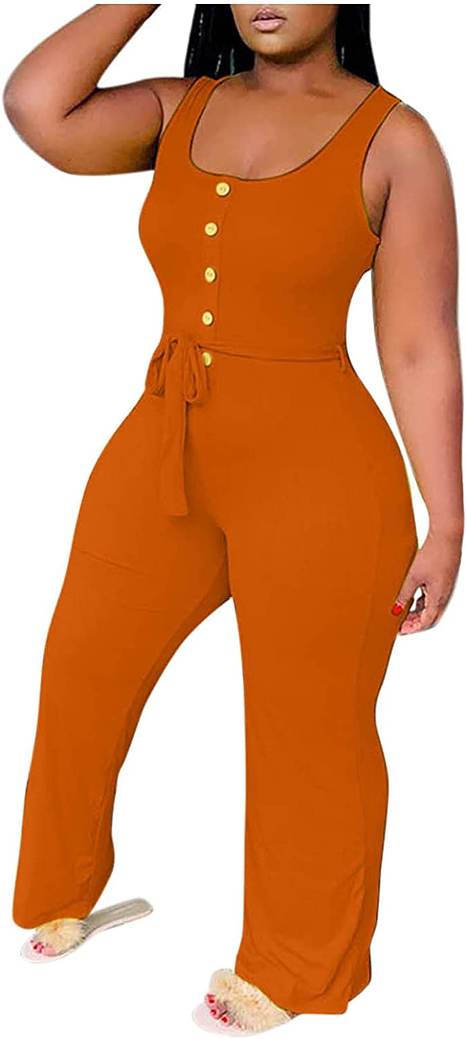 Pyhlmscde Women Jumpsuits One Piece Overall Sleeveless Suspender Playsuit Romper Wide Leg Solid Color Casual Pants
