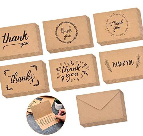 TankerStreet 48 Stück Dankeskarten Kraftpapier Danke Grußkarten mit Umschlag Elegante Vintage Dankeschön Klappkarten Faltkarten Craft Karte für Hochzeit Geburt Baby Taufe Geburtstag Jubiläum 15 x 10cm