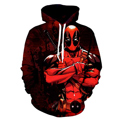 PLMNK-Deadpool-Suéter 3D Unisex, Sudadera con Capucha De Manga Larga con Estampado De Dibujos Animados, Pareja, Jersey De Fiesta, Sudadera Transpirable, Regalo para Niños-XXX-Large