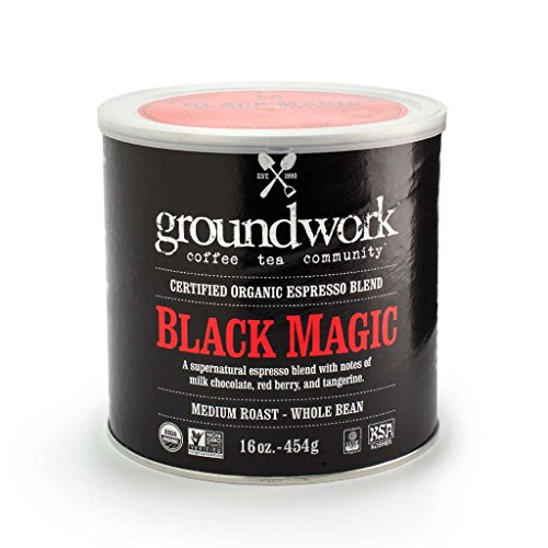Groundwork Certified Organic Whole Bean Coffee, Black Magic Espresso, 16 oz Can (Pack of 2)