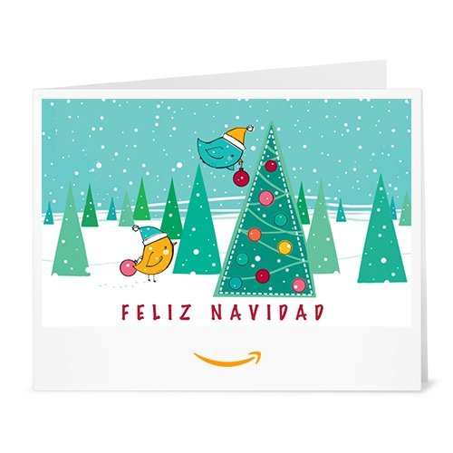 Cheque Regalo de Amazon.es - Imprimir - Feliz Navidad (pajaritos)
