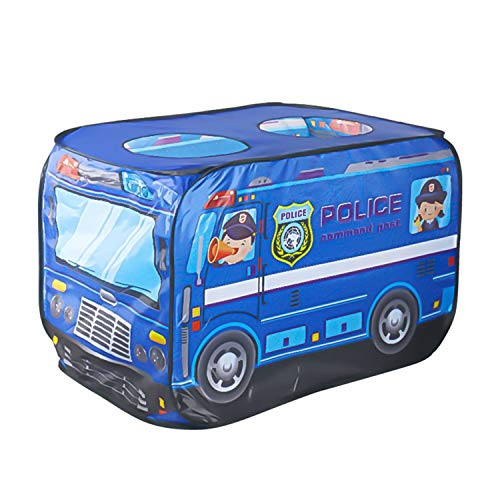 Tents Car Play for Children, Cartoon Police Car Fire Truck with Skylight - Play Ball Pool with Thickened Bottom (Color : Blue, Size : 70 * 125 * 71CM)