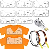 11 Pieces T-Shirt Alignment Tools Set, Include T-Shirt Alignment Ruler, 10 mm x 33 Meter Heat Resistant Tape and Measuring Ruler, T-Shirt Ruler Guide V-Neck Alignment Tool for Fabric (Transparent)