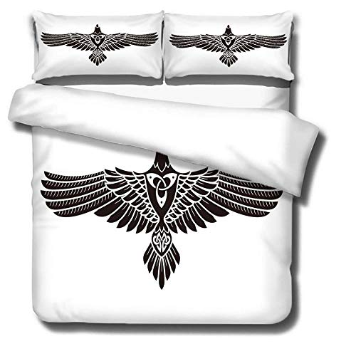 DJDSBJ Duvet cover 3D printed with eagle 135x200cm bedding with 2 pillowcases, 3-piece polyester quilt covers.