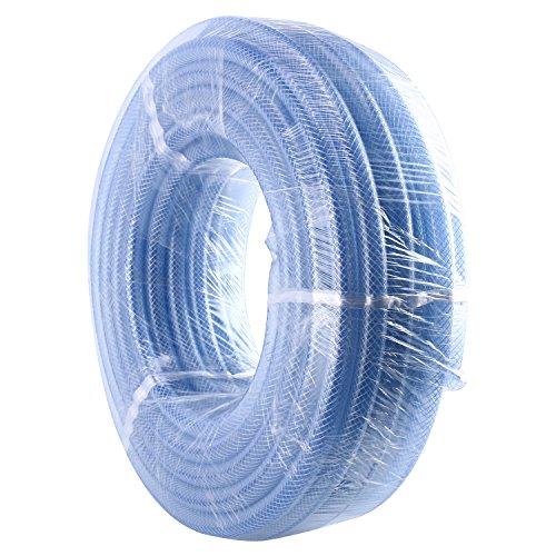 Homend High Pressure Braided Clear Flexible Industrial PVC Tubing Heavy Duty UV Chemical Resistant Vinyl Hose Water (3/8' ID X 100FT)