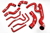 Autobahn88 Radiator Coolant & Heater Silicone Hose Kit fits for 1999-2003 Volkswagen VW Golf MK4 VR6 12V (Red -with Clamp Set)