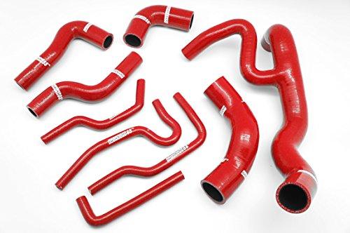 Autobahn88 Refrigerante del radiador y calentador Kit de la manguera de silicona, Modelo ASHK123-RD-WC (Rojo - con sistema de abrazadera)