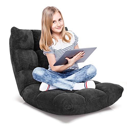 RELAX4LIFE Bodenstuhl Faltbar, Lazy Sofa, Meditationsstuhl, Bodensessel mit Verstellbarer Lehne, für Zuhause oder Büro, Farbewahl (schwarz)