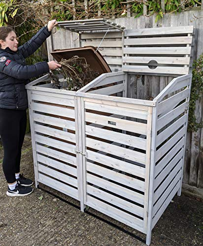 BinGarden Double Wooden Slatted Wheelie Bin Store with Bi-Fold Roof. Garbage Cover Trash Storage Shed Tidy Outdoor Hideaway for up to 240L Bins / 65G Cans. Hide Dustbin Bin Garden, Painted Silver Grey