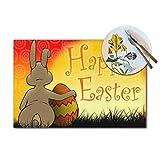 Asekngvo Happy Easter Bunny Egg Vintage Easter Bunny Cute Rabbit Eggs Woven Tovagliette Set di 6 pezzi resistenti al calore lavabile tovaglietta antiscivolo per tavolo da pranzo 30 x 45 cm