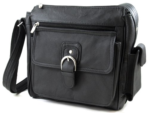 Roma Leathers Black Leather Pistol Concealment Purse with Buckle