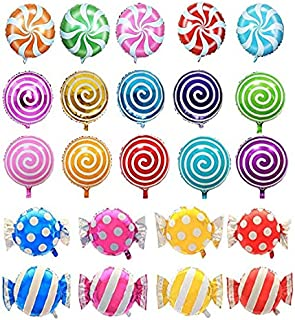 """AnnoDeel 21 pcs 18"""" Sweet Candy Balloons, Round Lollipop Balloon for Baby Birthday Wedding Party Balloons"""