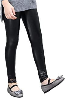 Girls Faux Leather Lace Stretch Full Length Leggings 4-12 Years