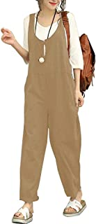 Morbuy Casual Baggy Harem Pantaloni Moda Senza Maniche Jumpsuit Ragazza Overall Hippie Sciolto Cinturino Tuta con Tasche Boho Lino Salopette da Donna