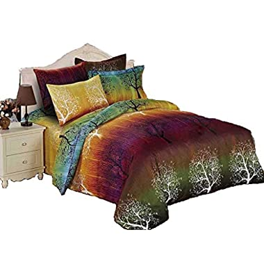 Swanson Beddings Rainbow Tree 3pc Duvet Bedding Set: Duvet Cover and Two Pillowcases (King)