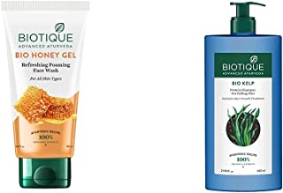 Biotique Bio Honey Gel Refreshing Foaming Face Wash, 150ml & Biotique Bio Kelp Protein Shampoo for Falling Hair Intensive ...