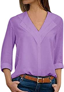 MK988 Women Loose Fit V-Neck Solid Color 3/4 Sleeve Plus Size Sexy Chiffon Blouse Shirt Top