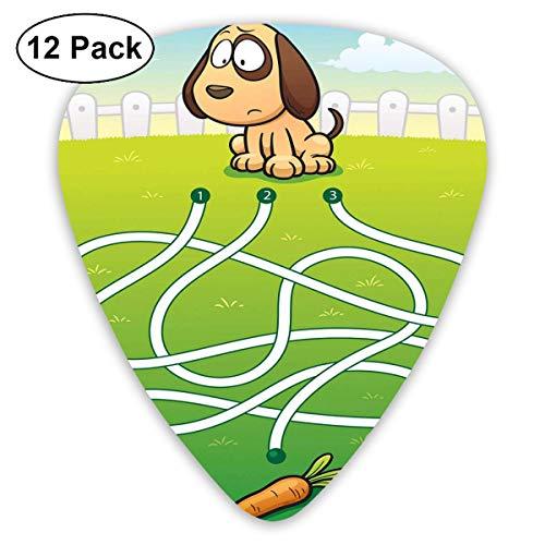 Gitaar Picks12 stks Plectrum (0,46 mm-0,96 mm), Cartoon stijl hongerige Puppy wil bot doolhof spel ontwerp met extra paden, voor uw gitaar of Ukulele