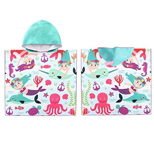 Tacobear Toalla de Playa Secado Rápido para Infantiles Albornoz de Playa con Capucha Dibujos Animados Capa Poncho de Playa Ducha Piscina para Niños Niñas(Multicolor-Sirena)