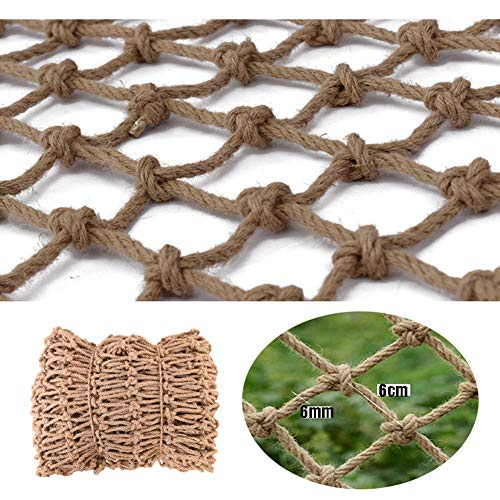 Safe Net Balcony Stair Protection Anti-fall Net Garden Mesh Netting ,Hemp Rope Net Vintage Industrial Style Decoration,Natural Jute Material,Easy To Install And Easy To Replace,for Home Bar Cafe,6mm/6