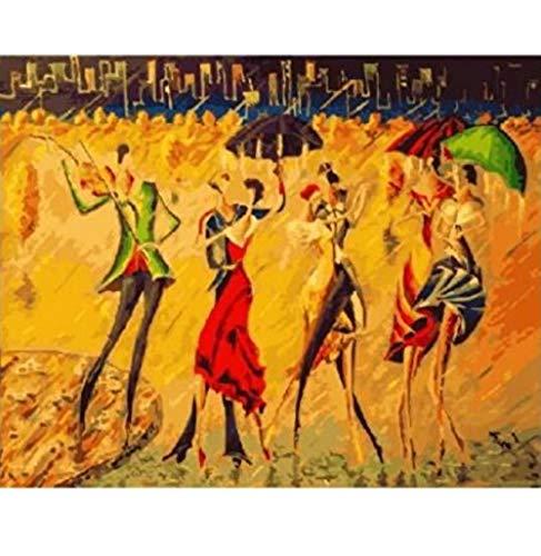 BNML Digitales Malen nach Zahlen für Erwachsene auf Leinwand Tanzen im Regen Malen nach Zahlen auf Leinwand Wandbilder Färben nach Zahlen mit Acrylfarben für Zuhause DIY Frameless 40X50Cm