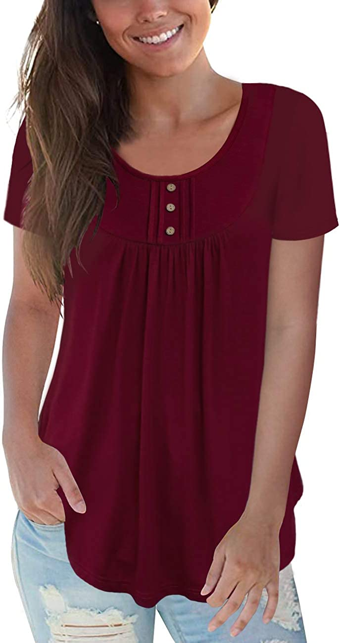 CPOKRTWSO Women's Plus Size Casual Tunic Tops Floral Blouses Short/Long Sleeve Henley T Shirts for Women M-4XL