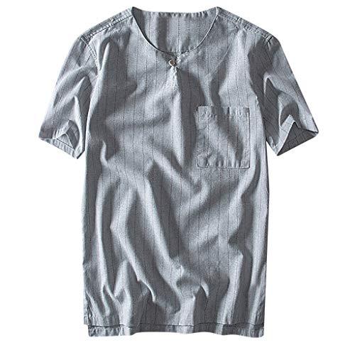 Baumwollleinen Taschen Streifen Kurzschluss Hülsen Retro T Shirts der Art und Weisemänner übersteigt Bluse NZA Hemd top King