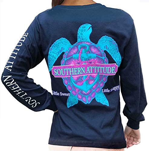 Southern Attitude Snappy Turtle Navy Long Sleeve Shirt (Large)