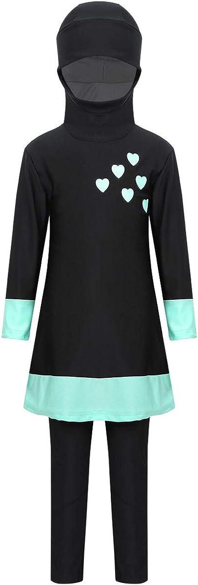 FEESHOW Kids Girls Modesty Burkini Swimsuit Swimwear Long Sleeve Full Body Rash Guard Bathing Suit