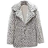 Sunmoot 2018 New Women Casual Warm Winter Long Lapel Leopard Print Faux Fur Coat (Small, White)
