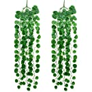Artificial Hanging Plants Leaves - 2 Bunchs Fake Ivy Vine Greenery Leaves for Indoor Outdoor Garden Wedding Party Decoration (Begonia Leaves)