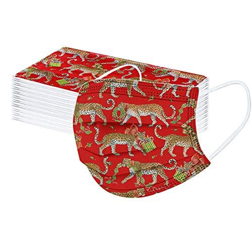 AFFGEQA 10 Stück Mund-Nasen-Schutz Erwachsene Bandanas Einweg 3-lagig Atmungsaktiv Staubdicht Erwachsene Outdoor Accessory mit Weihnachten Motiv Halstuch Lustige Multifunktionstuch
