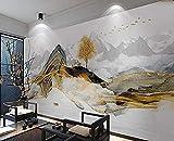 Tapete 3D Wapiti-Baum-goldene Landschaftsabstrakte chinesische moderne nichtgewebte Wand-Dekoration fototapete 3d Tapete effekt Vlies wandbild Schlafzimmer-350cm×256cm